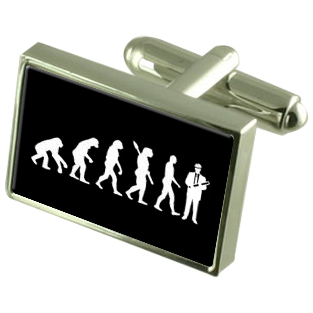 Select Gifts Evolution Ape to Man Engineer Cufflinks Engraved Message Box