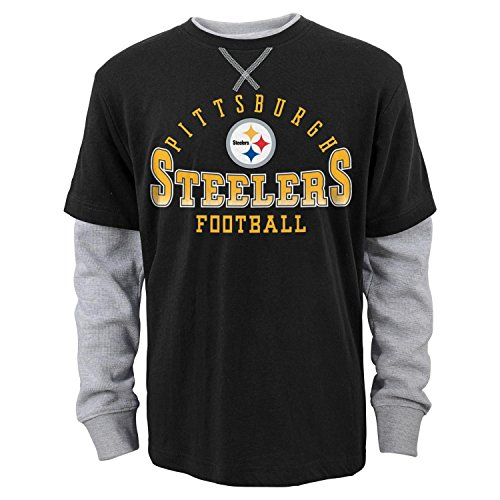"""Pittsburgh Steelers Youth NFL """"Arched Fade"""" L/S Faux Layer Thermal Shirt by Outerstuff"""