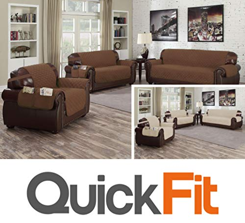 QuickFit Reversible Couch Cover for Dogs, Kids, Pets - Sofa Slipcover Furniture Protector for Sectional 3 Cushion Couch, Recliner, Loveseat and Chair (Sofa: Solid Brown/Beige)
