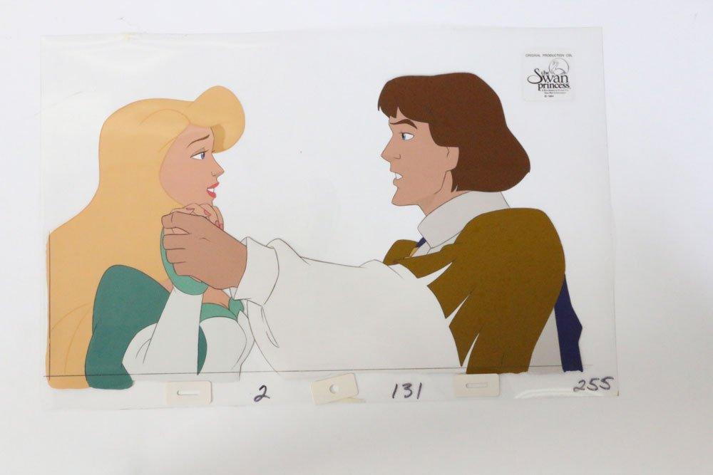 Princess Odette, Prince Derek Vintage Swan Princess Animated Art Character Cartoon Animated Prince Princess Classic Movie Art Cel 2D Paint Drawing Wall Decor Film Production Art