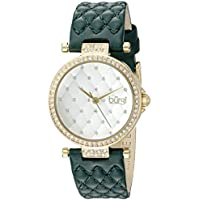 Burgi Women's BUR154GN Yellow Gold Quartz Watch with Swarovski Crystal Accents and White Dial With Green Quilted Satin Strap