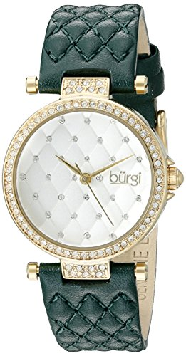 Burgi Women's BUR154GN Yellow Gold Quartz Watch with Swarovski Crystal Accents and White Dial With Green Quilted Satin Strap (White Polished Dial)