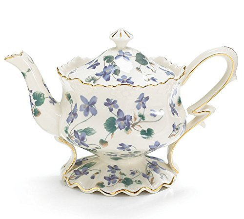 Teapot Westfield Lavender Violets Gift Boxed Porcelain Hand Painted Gold Trim Gift For Mom