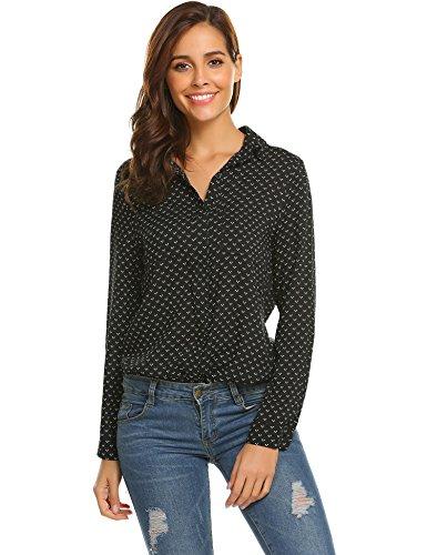 Pinspark Women's Fashion Collar Long Sleeve Print Casual Button Down Blouse Shirt (XL, Black 1)