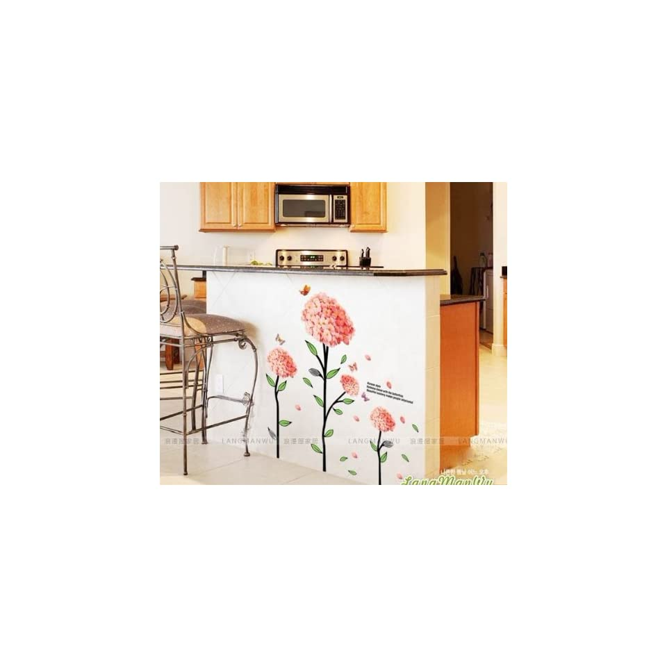 Reusable/removable Decoration Wall Sticker Decal  Pink Large Flying Flower