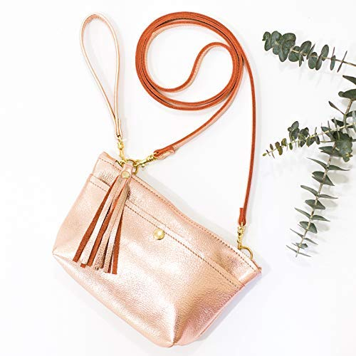 (Rose Gold Leather Crossbody Convertible: Wristlet, Clutch, Purse - Metallic Leather)