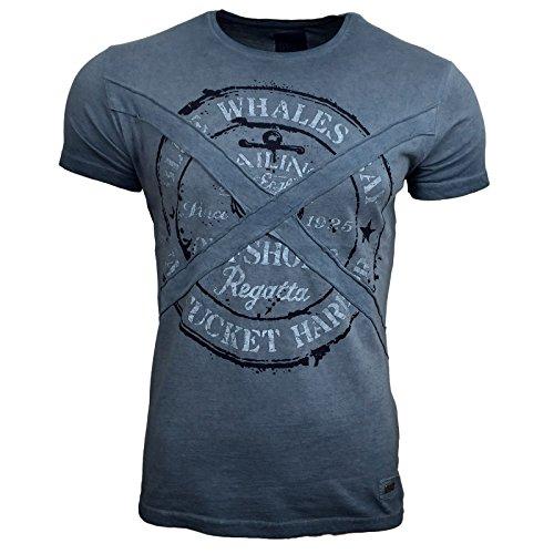 R-NEAL Clubwear Kurzarm Herren Rundhals T-Shirt Washed Optik Shirt RN-16728 NEU, Größe:L, Farbe:Blau
