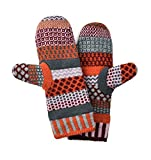 Solmate Brand USA Made Mismatched Fleece Lined Mittens, Persimmon