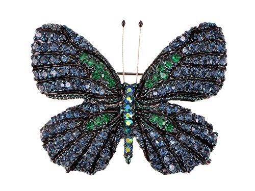 Alilang Womens Antique Inspired Gunmetal Tone Shine Blue Green Rhinestones Empress Monarch Winged Butterfly Insect Brooch Pin
