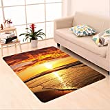 Nalahome Custom carpet dy Beach Sun Lights Up Clouds and the Sea from the Horizon at Hawaii Picture Orange Yellow Beige area rugs for Living Dining Room Bedroom Hallway Office Carpet (5' X 8')