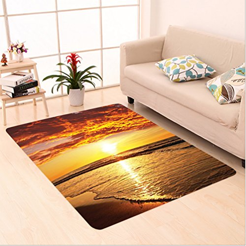 Nalahome Custom carpet dy Beach Sun Lights Up Clouds and the Sea from the Horizon at Hawaii Picture Orange Yellow Beige area rugs for Living Dining Room Bedroom Hallway Office Carpet (5' X 8') by Nalahome