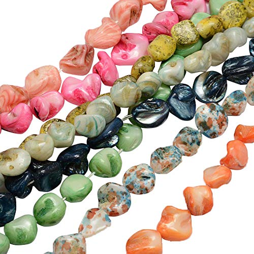 PandaHall 20 Stands Mixed Color Drop Dyed Natural Shell Beads Strands Seashells Beads Gemstone Beads for Necklace, Bracelet, Jewelry Making, Home and Wedding Decor
