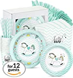 Baby Shower Decorations for Boy - 96 Piece Party Supplies Set Rocking Horse Theme Including, Plates, Cups, Straws, Napkins, it's a Boy Babies Shower Decorations Celebration Decor Supplies, Serves 12