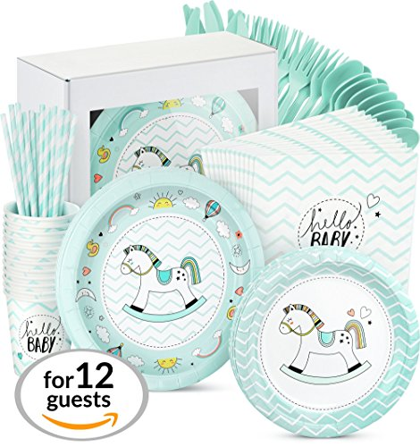 Baby Shower Decorations for Boy - 96 Piece Party Supplies Set Rocking Horse Theme Including, Plates, Cups, Straws, Napkins, it's a Boy Babies Shower Decorations Celebration Decor Supplies, Serves 12 by Trendy Brandy