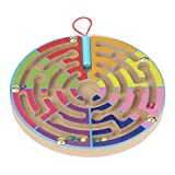 FALAIDUO Kids Magnetic Maze Toys Kids Wooden Game Toy Wooden Intellectual Jigsaw Board Educational Toys Gifts (F)