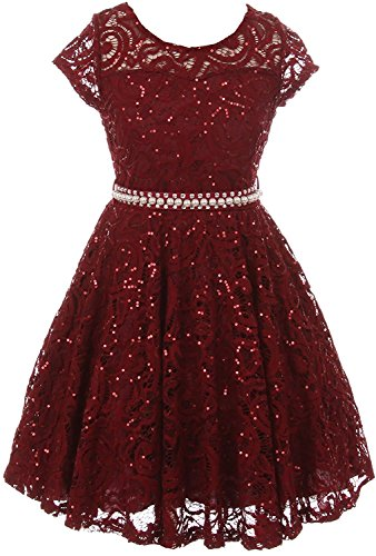 (iGirldress Cap Sleeve Floral Lace Glitter Pearl Holiday Party Flower Girl Dress Burgundy Size)