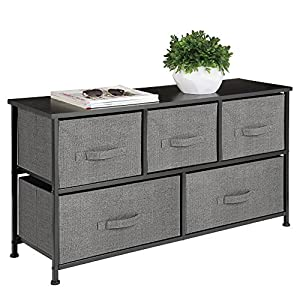 mDesign Extra Wide Dresser Storage Tower – Sturdy Steel Frame, Wood Top, Easy Pull Fabric Bins – Organizer Unit for Bedroom, Hallway, Entryway, Closets – Textured Print – 5 Drawers