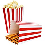 24pcs Striped Paper Popcorn Boxes for Party Favor Supplies (Red)