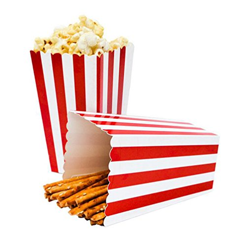 24pcs Striped Paper Popcorn Boxes for Party