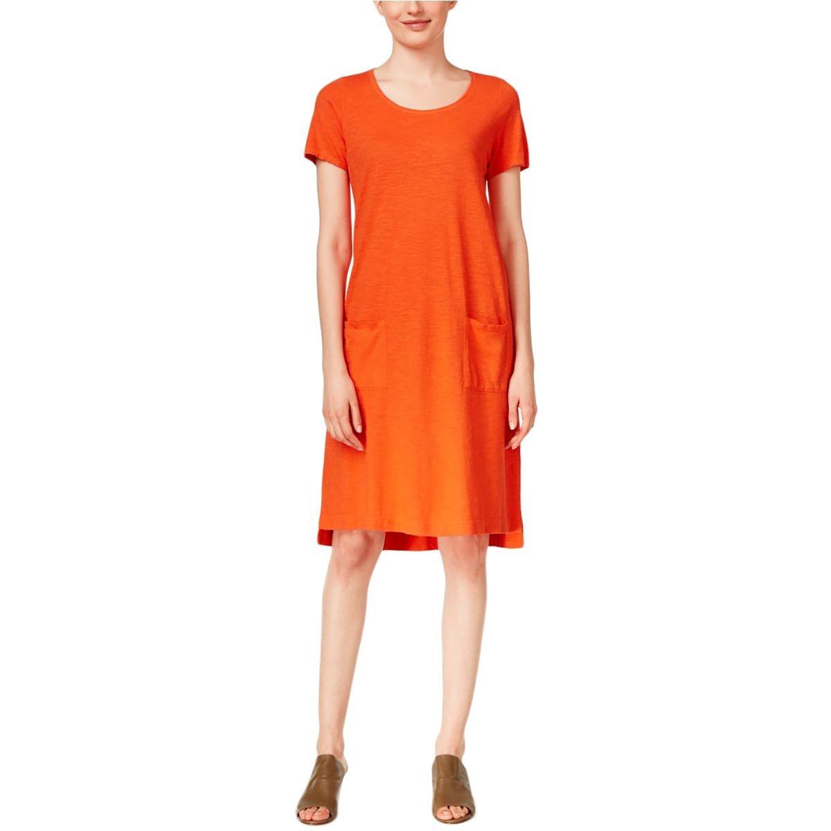 ffddab29e49 Eileen Fisher Womens Scoop Neck Casual T-Shirt Dress Orange XS at Amazon  Women s Clothing store