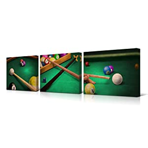 """HOMEOART Billiards Pictures Play Shooting Pool Canvas Art Pictures for Pool Room Home Office Boys Room Decoration Gift 12""""x16""""x3 Panels"""