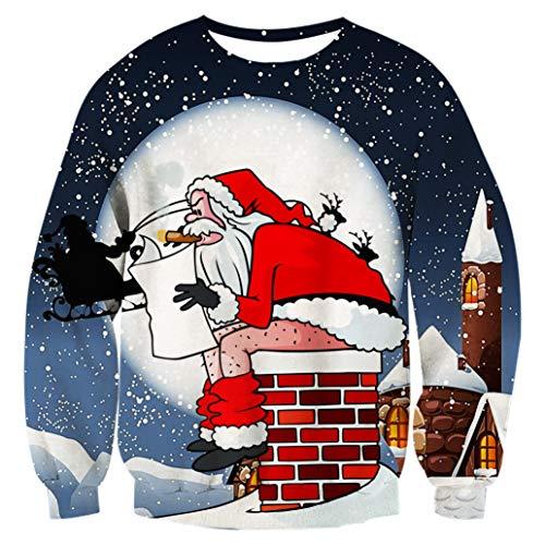 Fanient Mens Womens Ugly Christmas Sweater for Women Christmas Sweater Couple Funny Long Sleeve Santa Jumper Shirt]()