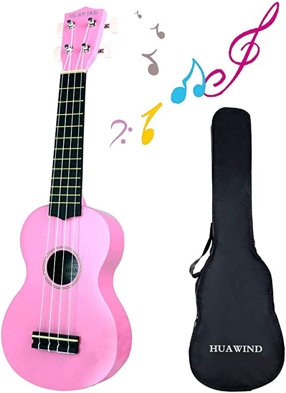 Soprano Ukulele 21 inch Wood 4 Strings Hawaiian Ukulele With Bag for Kids Students and Beginners and Adults (Pink): Amazon.co.uk: Musical Instruments