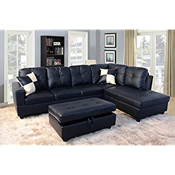 Lifestyle Furniture Urbania Right Hand Facing Sectional, Black
