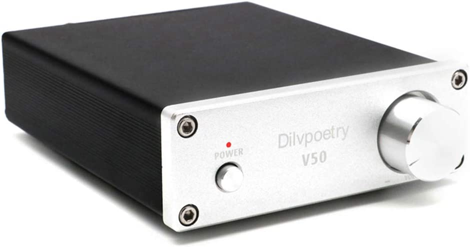 Dilvpoetry V50 HiFi Stereo Amp TPA3116D2 2 Channel Stereo Audio Amplifier 150W x 150W Mini Integrated Amp(Silver)