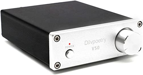Dilvpoetry V50 HiFi Stereo Amp TPA3116D2 2 Channel Stereo Audio Amplifier 150W x 150W Mini Integrated Amp Silver