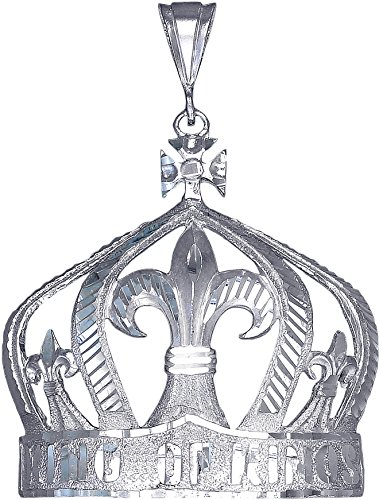 Sterling Silver King Crown Charm Pendant Necklace Diamond Cut Finish with Chain (Without Chain) by eJewelryPlus
