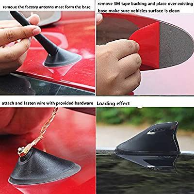 Car Auto Shark Fin Roof Aerial Base Radio Signal Universal Car Mounted Antenna FM/AM Connection (Black): Car Electronics
