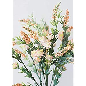 "Artificial Heather Wildflower Bush in Peach Pink - 23"" Tall 66"