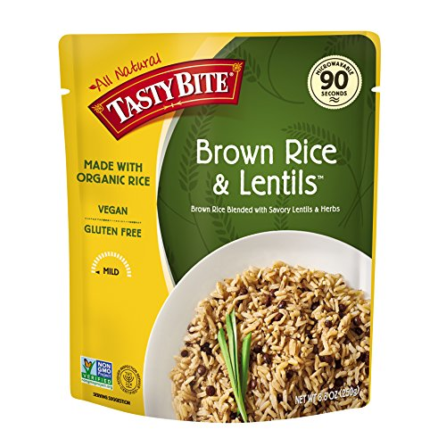 Tasty Bite Brown Rice Lentil 8.8 Ounce (Pack of 6), Whole Grain Brown Rice with Savory Lentils and Herbs, Gluten Free, Vegan, Ready to Eat, (Brown Rice Taste)