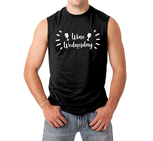 Tcombo Wine Wednesday Men's Sleeveless Shirt (Black, X-Large)