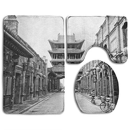 Hexu Historical Chinese Town Old Town Of Pingyao China Bathroom Rug 3 Piece Bath Mat Set Contour Rug And Lid - Fake Versace China