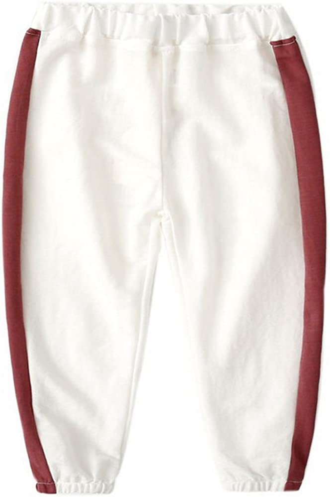 White and Dark Red Gentle Meow Comfortable Soft Childrens Trousers