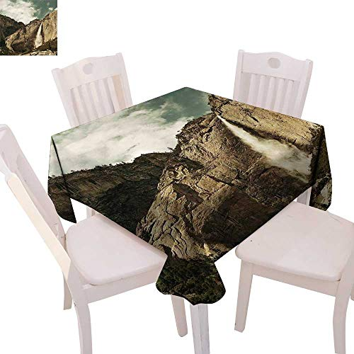 cobeDecor Yosemite Dinning Tabletop DecorWaterfalls in Yosemite National Park California Famous Travel Destination Table Cover for Kitchen 70