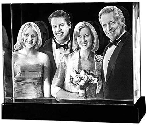 Personalized Custom 3D Holographic Photo Etched Engraved Inside The Crystal with Your Own Picture XXL (Birthday, Wedding Gift, Memorial, Mother's Day,Valentine's,Christmas)