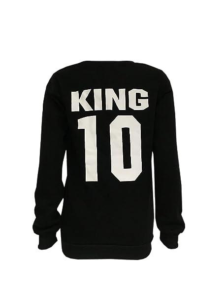 COCO clothing Basica Sudaderas King Queen de Mujer Hombre Imprimen Parejas Sweatshirt Casual Camisetas Redondo Manga Larga Otoño: Amazon.es: Ropa y ...