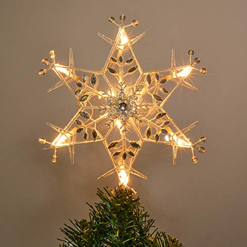 Valery Madelyn 11.4 Inch Pre-Lit Frozen Winter Silver White Christmas Tree Topper, Metal Tree Top Star with 10 Warm LED Lights, Battery Operated (Not Included) (Snowflakes Metal White)