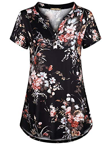 Miusey Short Sleeve Shirts for Women,Womans Boho Tops Floral Clothing Fashion Cute Flowy Sophisticated Loose Fit Vintage Henley V Neck Church Wear Curved Hem Knit Outfit Black L