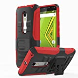 Motorola Moto X Play / DROID Maxx 2 Case, MoKo Shock Absorbing Hard Cover Ultra Protective Heavy Duty Case with Holster Belt Clip + Built-in Kickstand for Motorola Droid Maxx 2 / Moto X Play - Red