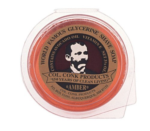 Colonial Saucer - Colonel Ichabod Conk AMBER Super Bar Shave Soap 3-3/4 oz - Extra Large Size