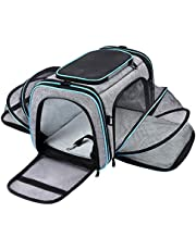 MASKEYON Airline Approved Pet Carrier, Large Soft Sided Pet Travel TSA Carrier 4 Sides Expandable Cat Collapsible Carrier with Removable Fleece Pad and Pockets for Cats Dogs and Small Animals