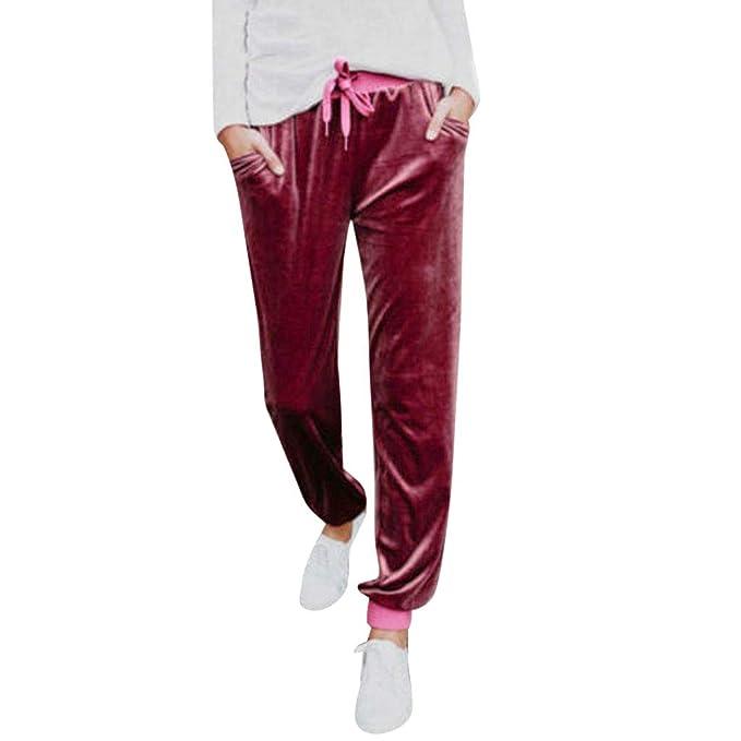 Pantalones Mujer Deporte con Cordones Cintura Alta Casual Suelto Pantalón  Mujer Tallas Grandes Terciopelo Pantalones Lápiz Corriendo Fitness  Gusspower  ... 60cd5d62fc55