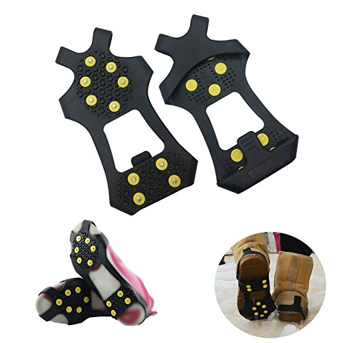AGOOL Ice Grips, Traction Cleats Ice Cleat Snow Grippers Non-Slip Over Shoe/Boot Rubber Spikes Crampons Anti Slip Durbale 10 Steel Studs Crampons Slip-on Stretch Footwear