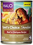 Halo Spot's Choice 12-Pack Grain Free Shredded Beef and Chickpea Recipe for Dogs, 13.2-Ounce