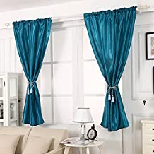 Leemall 2 Pieces Solid Curtains Window Curtain Drape Treatment for Bedroom (2 pieces, peacock blue)