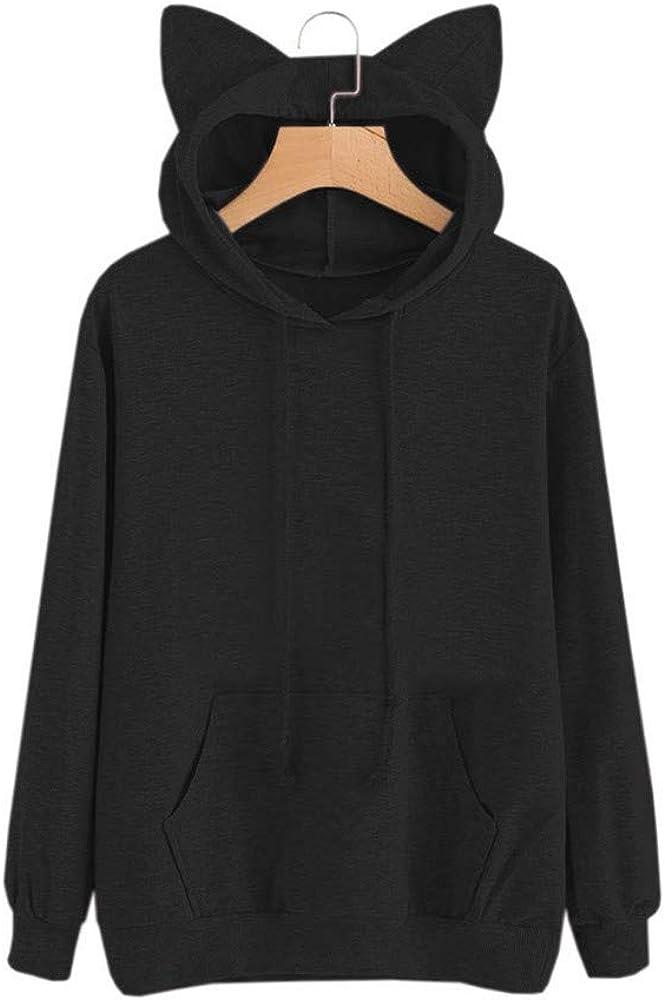 WOCACHI Women Pullover Cute Cat Ears Long Sleeve Solid Hoodies Simple Sweatshirt